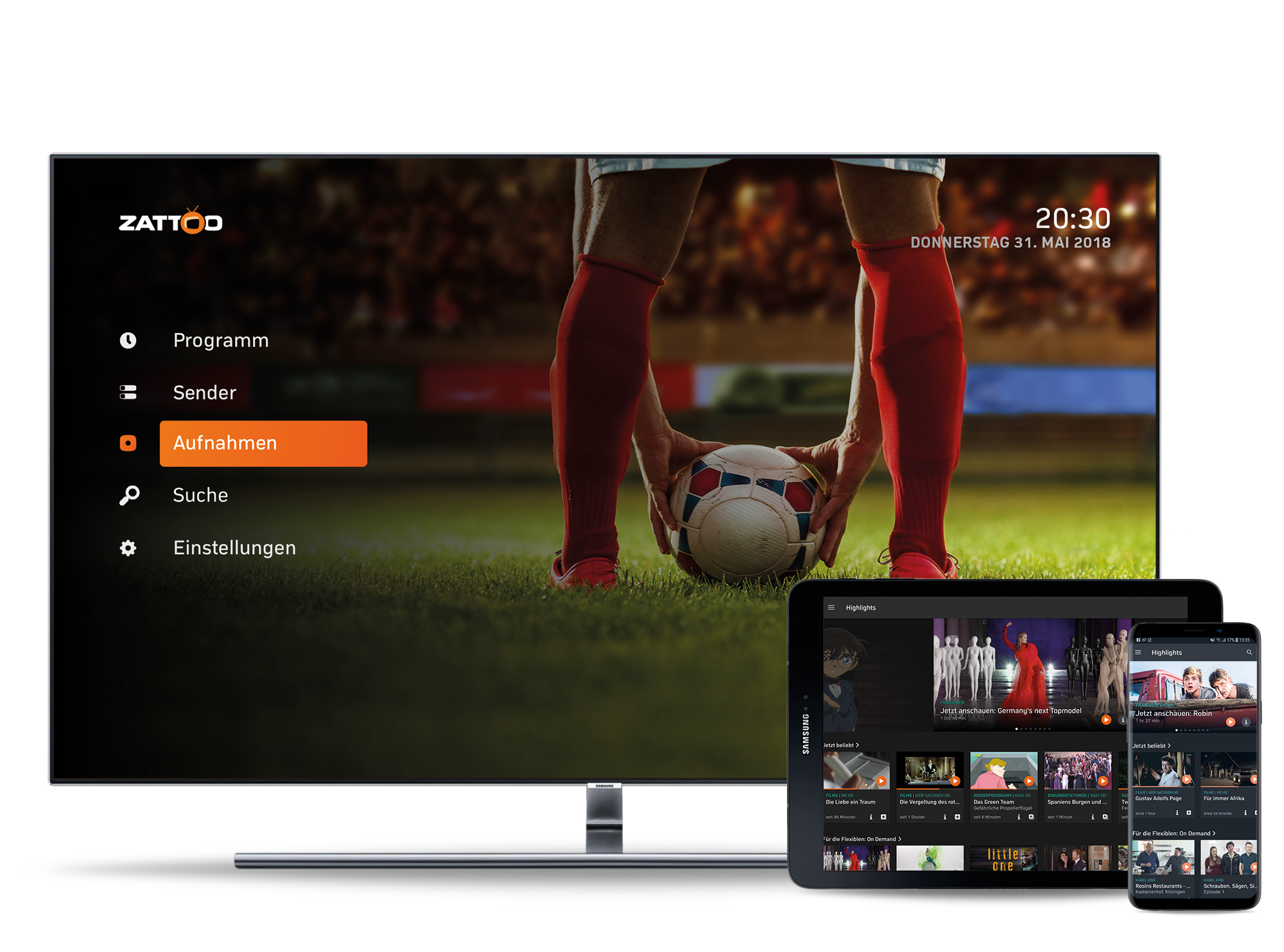 Watch TV with Zattoo App and Samsung TV.