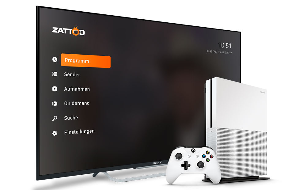 Watch TV with Zattoo free and XBox One on your big screen!